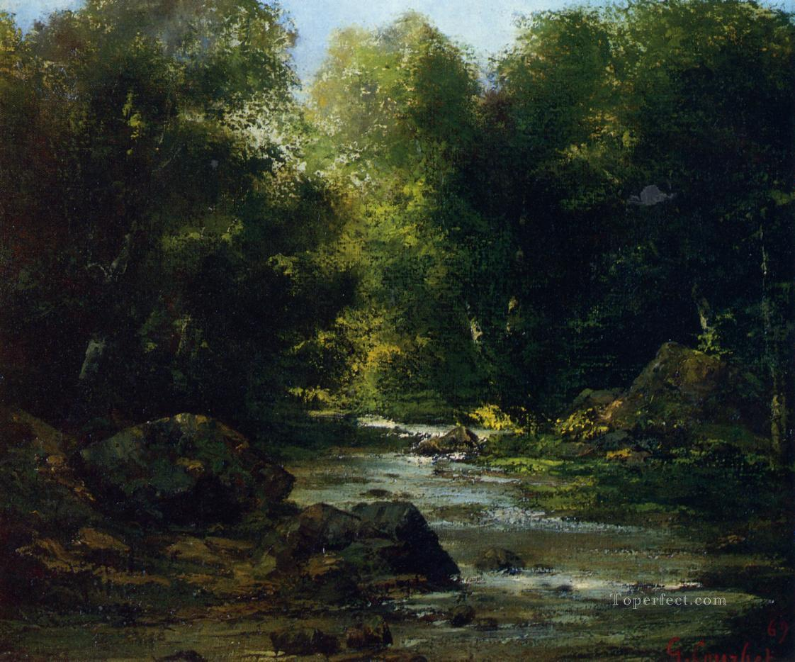 River Landscape landscape Gustave Courbet woods forest Oil Paintings