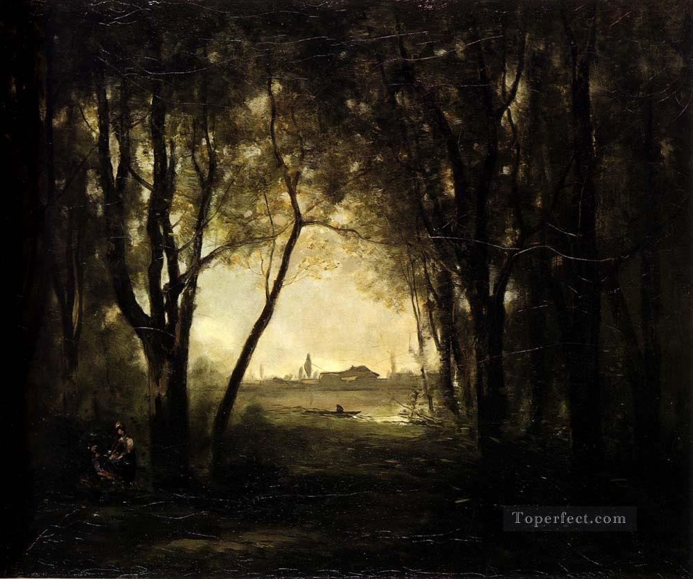 Camille Landscape with A Lake Jean Baptiste Camille Corot woods forest Oil Paintings