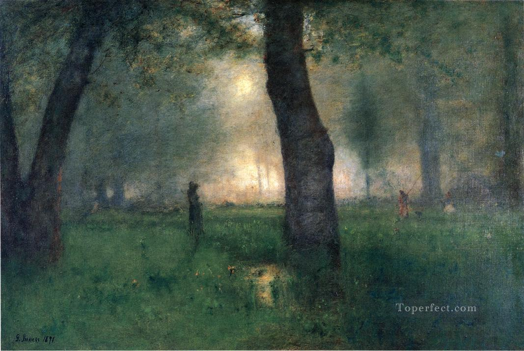 The Trout Brook landscape Tonalist George Inness woods forest Oil Paintings