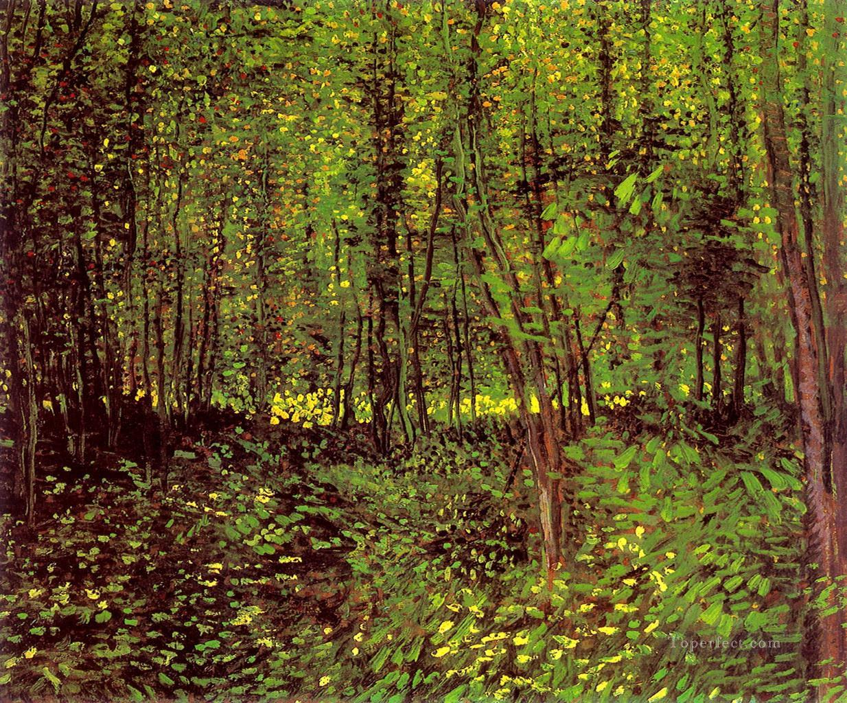 Trees and Undergrowth Vincent van Gogh woods forest Oil Paintings