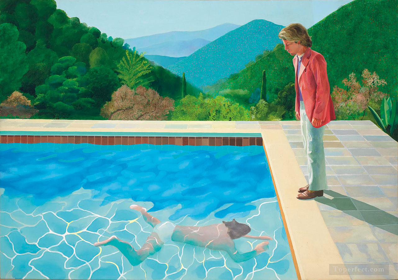 David Hockney Portrait of an Artist Pool with Two Figures Oil Paintings