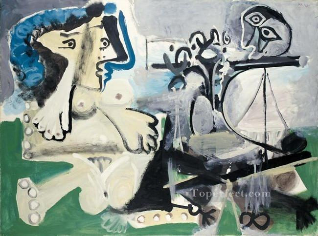 Nu assis et joueur de flute 1967 Abstract Nude Oil Paintings
