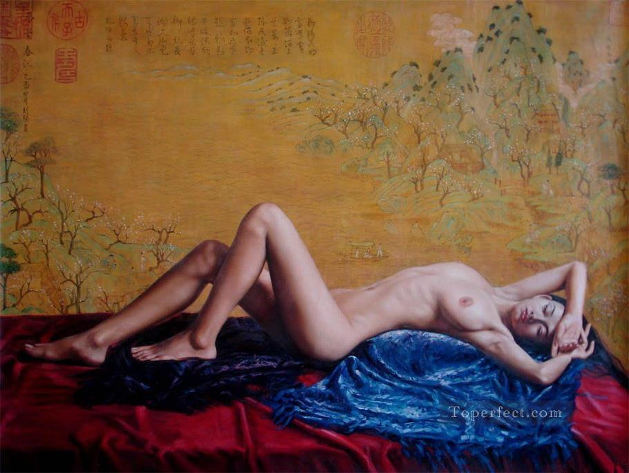 Spring Outing Chinese Girl Nude Oil Paintings