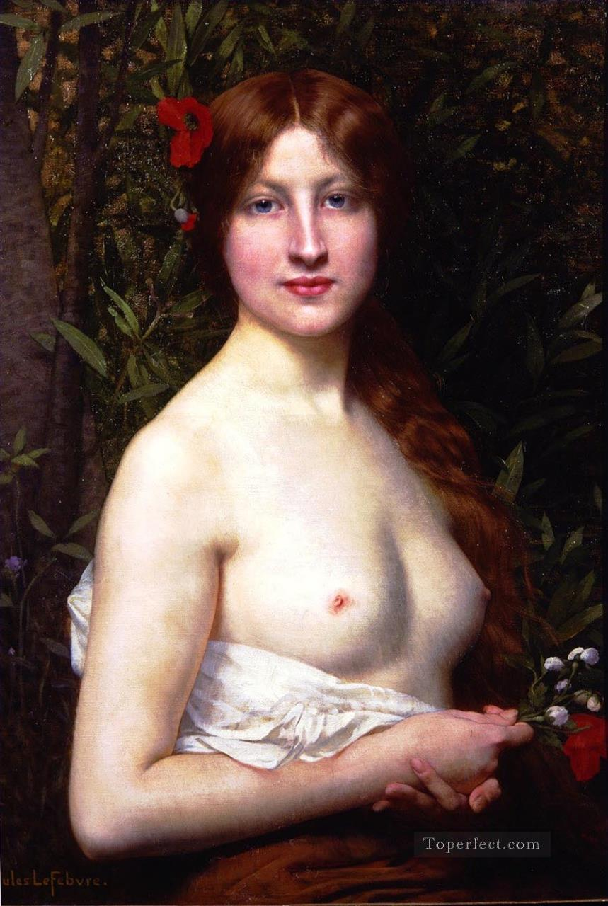 Demi nude female body nude Jules Joseph Lefebvre Oil Paintings