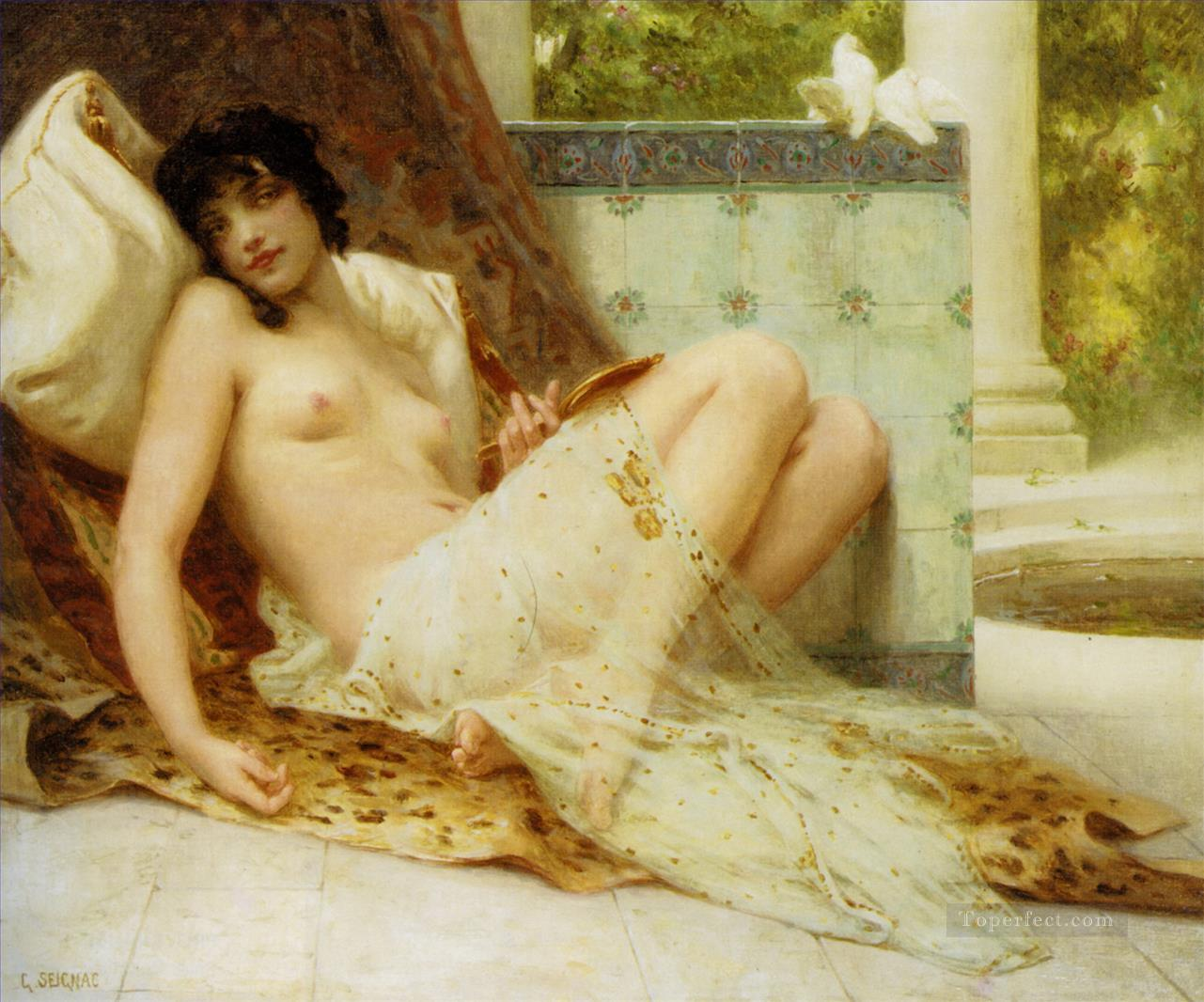 Nude on the Sofa Guillaume Seignac classic nude Oil Paintings