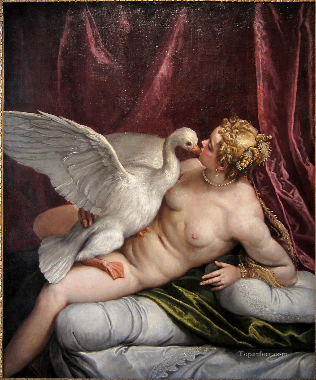 paolo veronese leda and the swan in the palace of fesch ajaccio Classic nude Oil Paintings