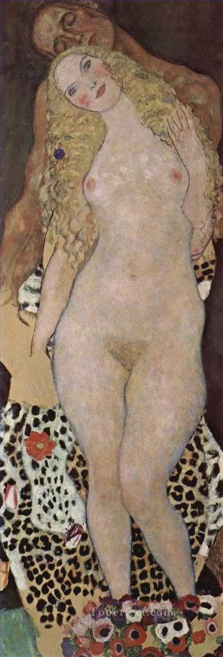 Adam and Eva Gustav Klimt Impressionistic nude Oil Paintings