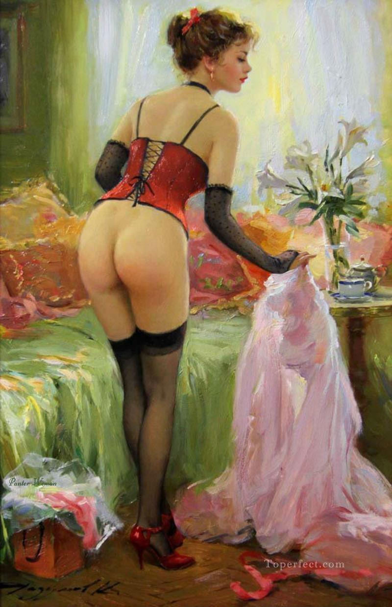 Pretty Lady KR 063 Impressionist nude Oil Paintings
