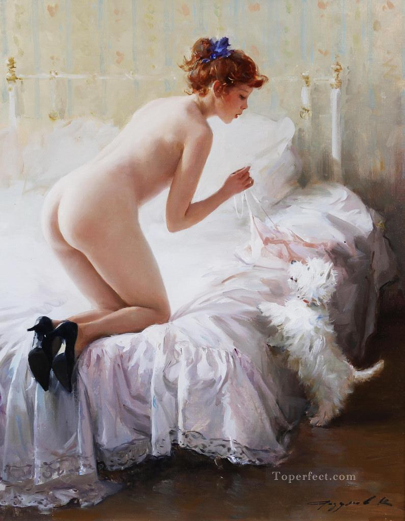 Pretty Lady KR 066 Impressionist nude Oil Paintings