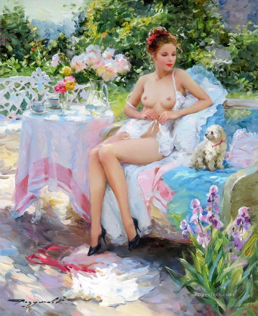 Pretty Woman KR 026 Impressionist nude Oil Paintings