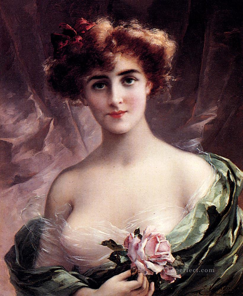 The Pink Rose girl Emile Vernon Impressionistic nude Oil Paintings