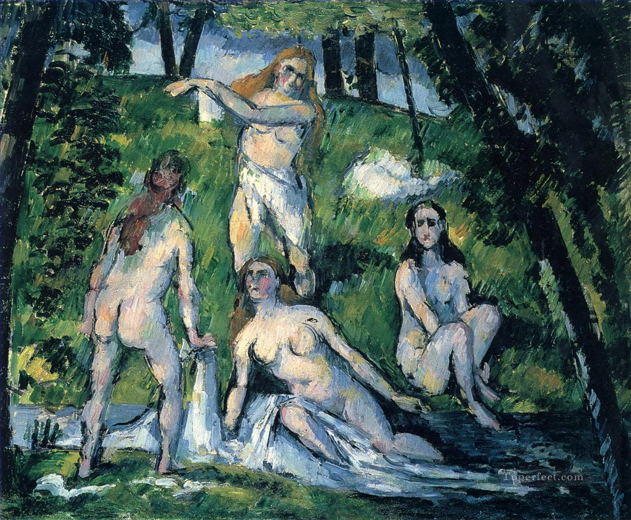 Four Bathers 188 Paul Cezanne Impressionistic nude Oil Paintings
