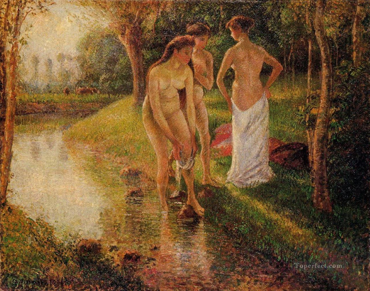 bathers 1896 Camille Pissarro Impressionistic nude Oil Paintings