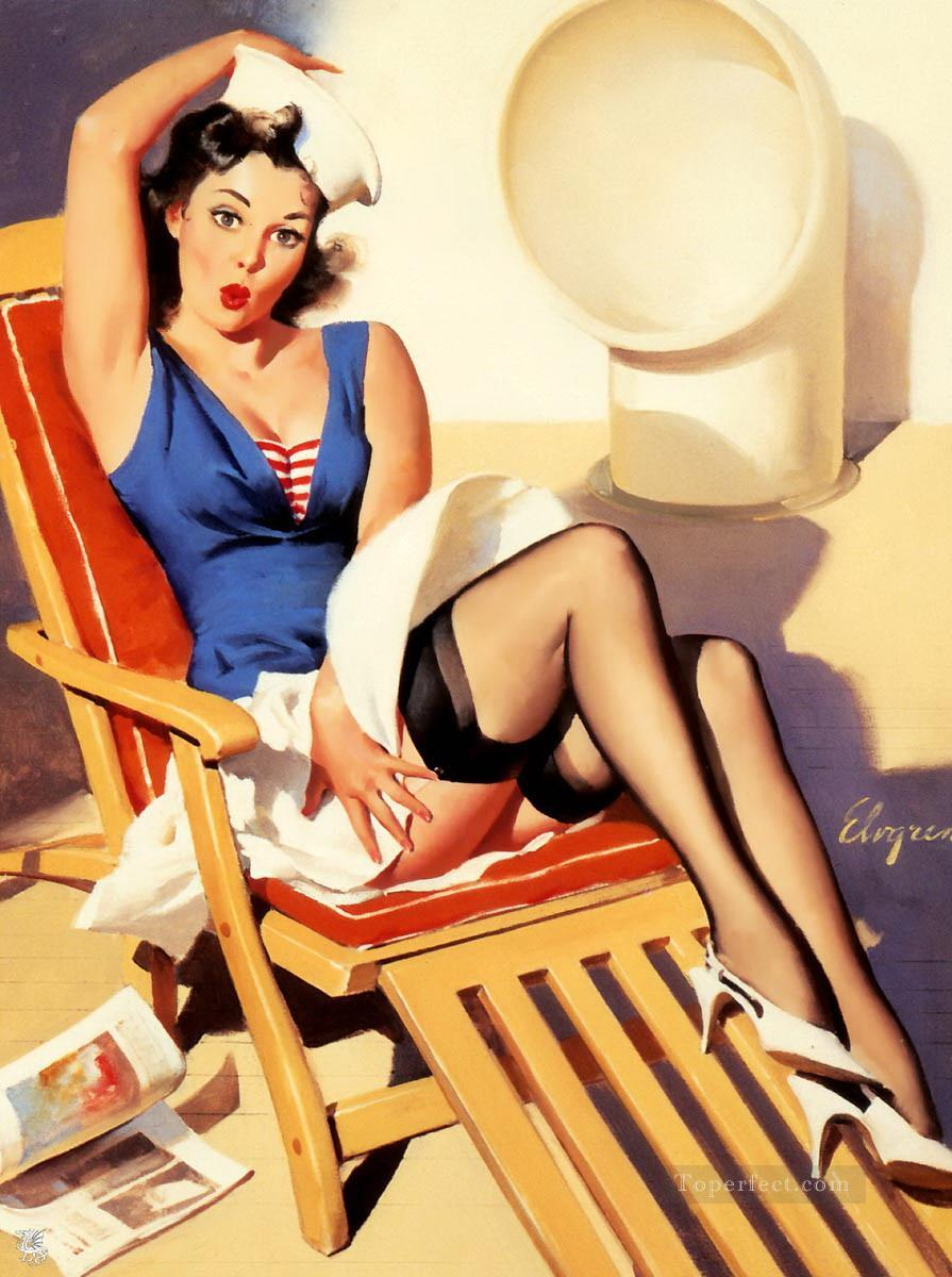 77704309702 Gil Elvgren pin up 56 Painting in Oil for Sale