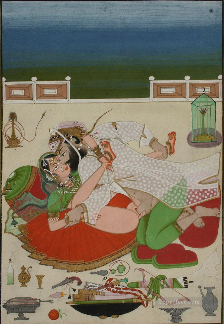 Lovemaking Couple in on Palace Terrace Udaipur Circa 1830 sexy Oil Paintings