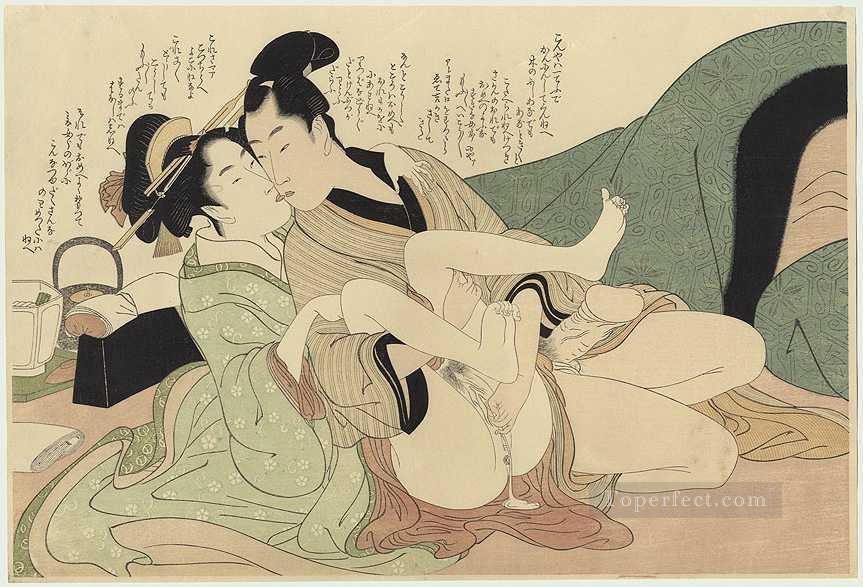 Young courtesan with her lover Kitagawa Utamaro Sexual Oil Paintings