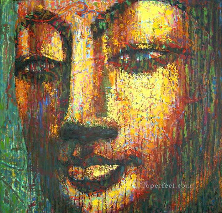 buddha head golden powder Buddhism Oil Paintings