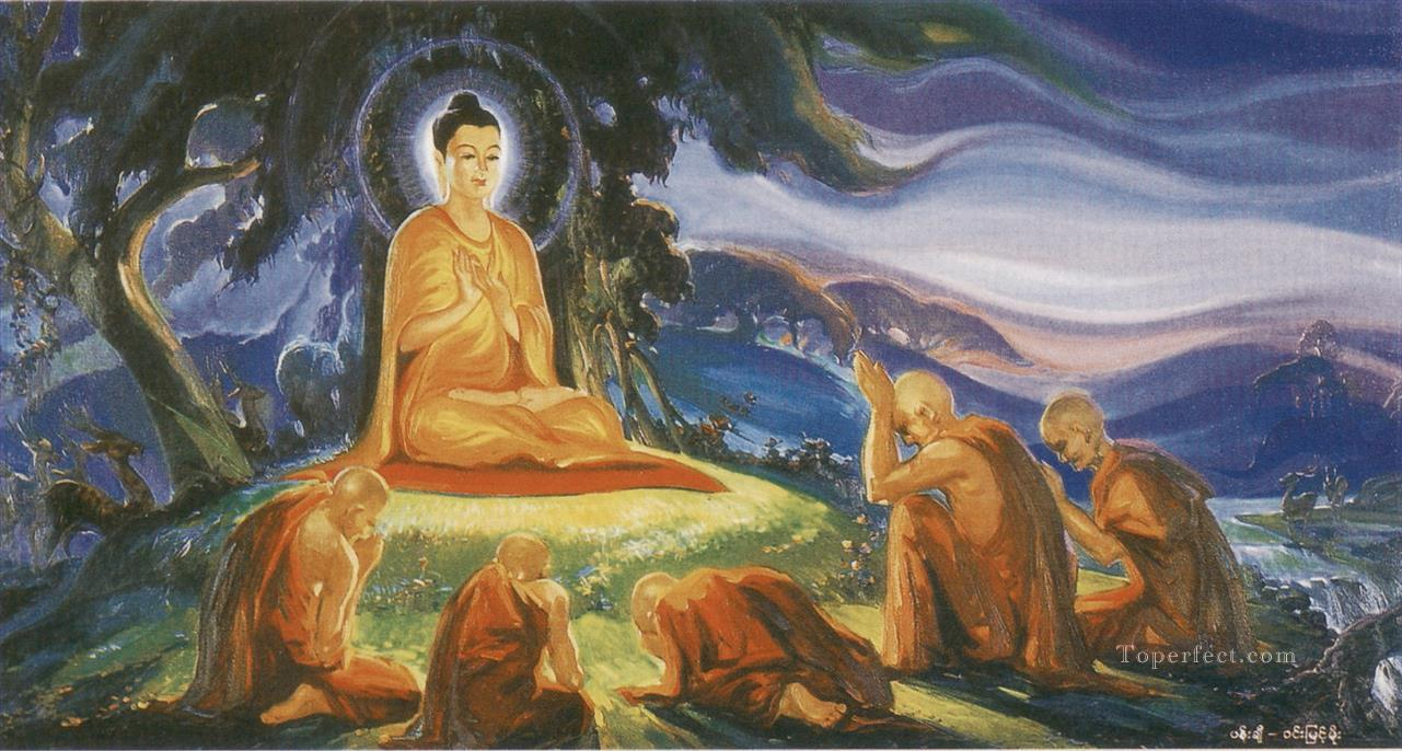 buddha preached his first sermon to the five monks at the deer park in varanasi Buddhism Oil Paintings