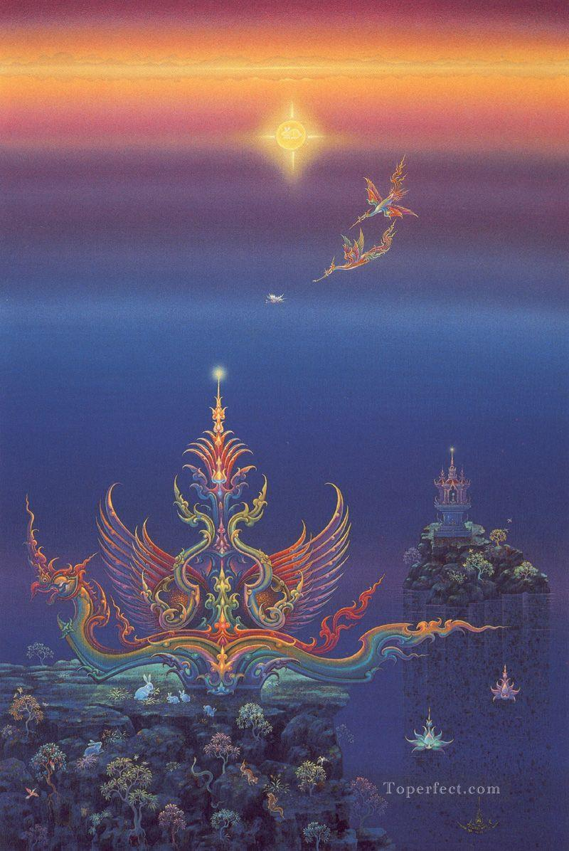 contemporary Buddhism heaven fantasy 002 CK Buddhism Oil Paintings