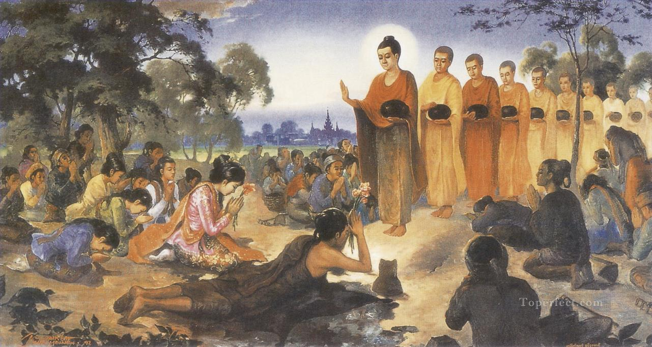 ascetic sumedha receiving his first sure prediction of becoming a future buddha from the dipankara buddha Buddhism Oil Paintings
