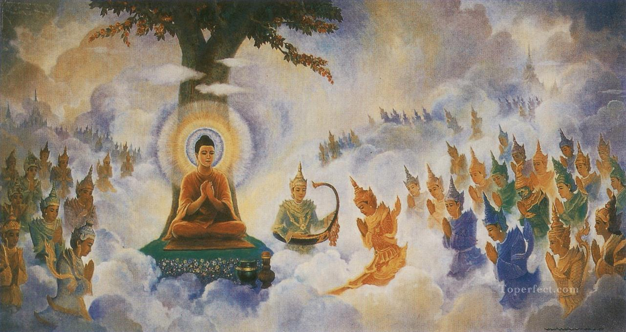 buddha preaching the abhidhamma to his former mother Buddhism Oil Paintings