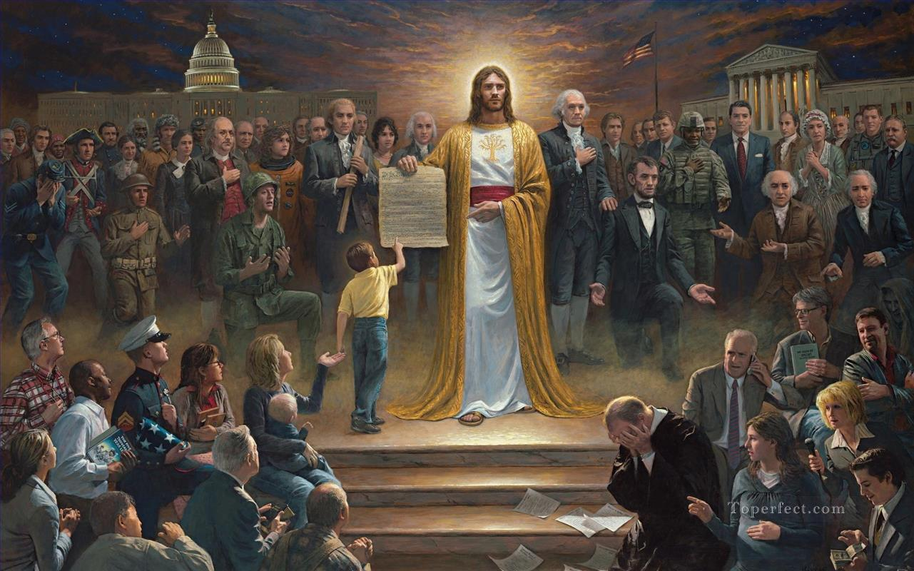 Jesus urges America to repent religious Christian Oil Paintings