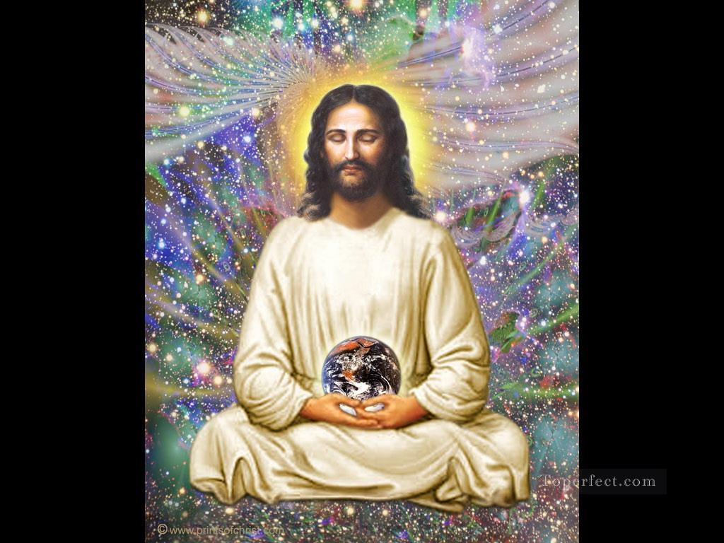 Jesus holding the world religious Christian Oil Paintings