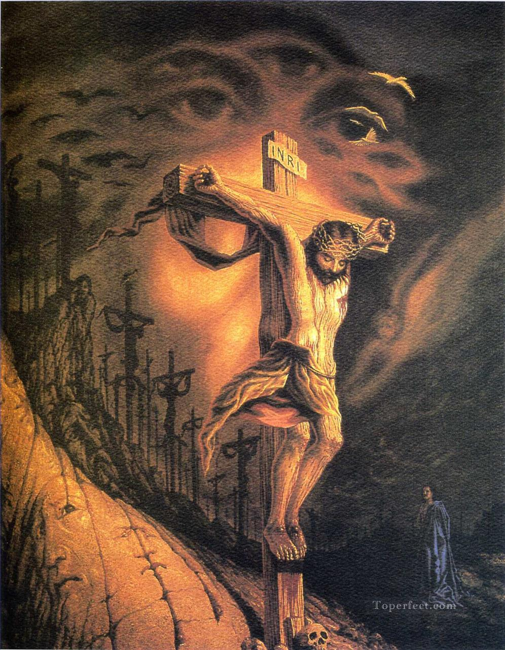octavio ocampo jesus christ on the cross painting in oil for sale