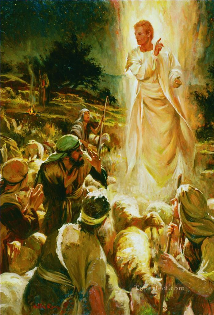 An angel appears to the shepherds of Bethlehem Catholic Christian Oil Paintings