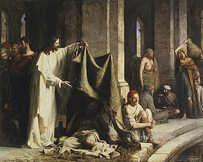 Christ Healing by the Well of Bethesda religion Carl Heinrich Bloch Oil Paintings