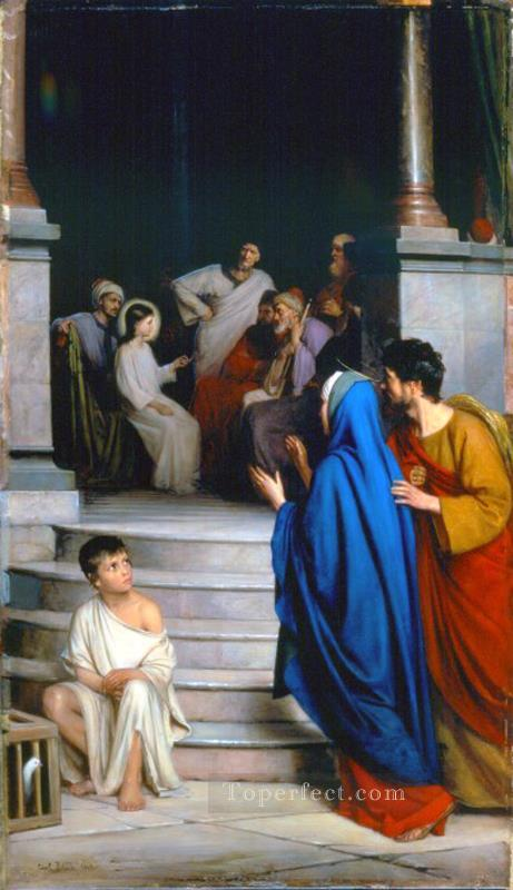 Christ Teaching at the Temple religion Carl Heinrich Bloch Oil Paintings