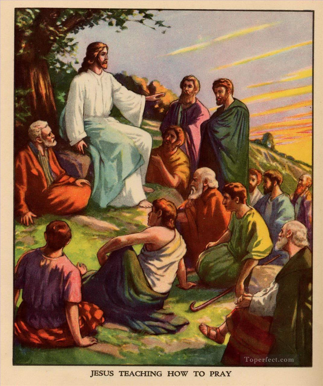 Jesus teaching how to pray religious Christian Oil Paintings