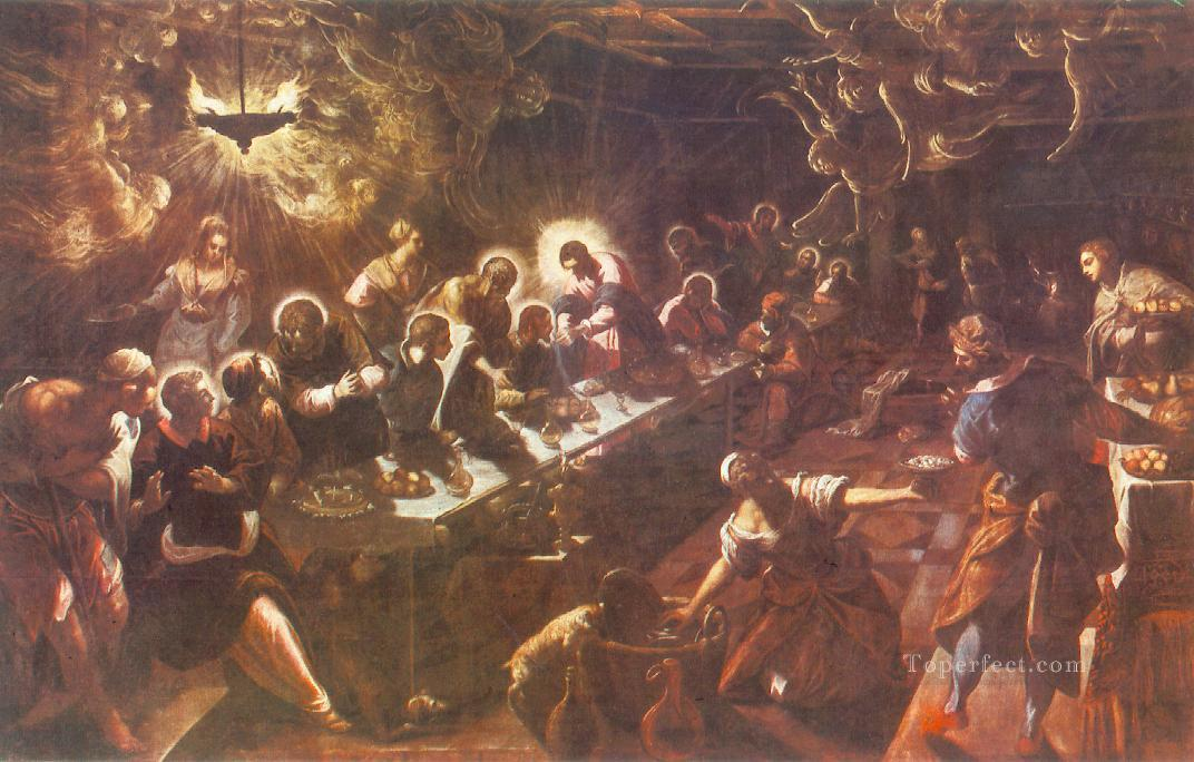 The Last Supper Italian Tintoretto religious Christian Oil Paintings