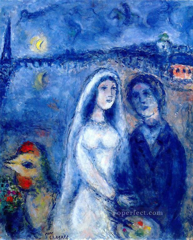 Newlywedds with Eiffel Towel in the Background MC Jewish Oil Paintings