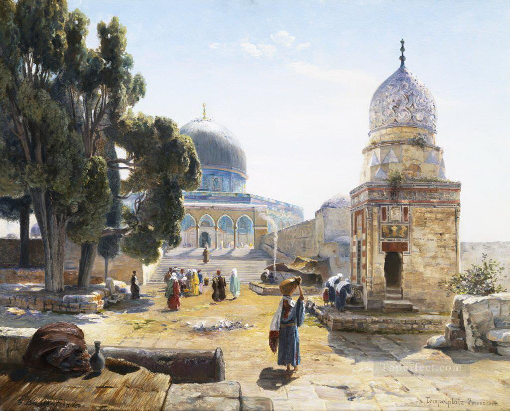 The Dome of the Rock Jerusalem Israel Gustav Bauernfeind Orientalist Jewish Oil Paintings