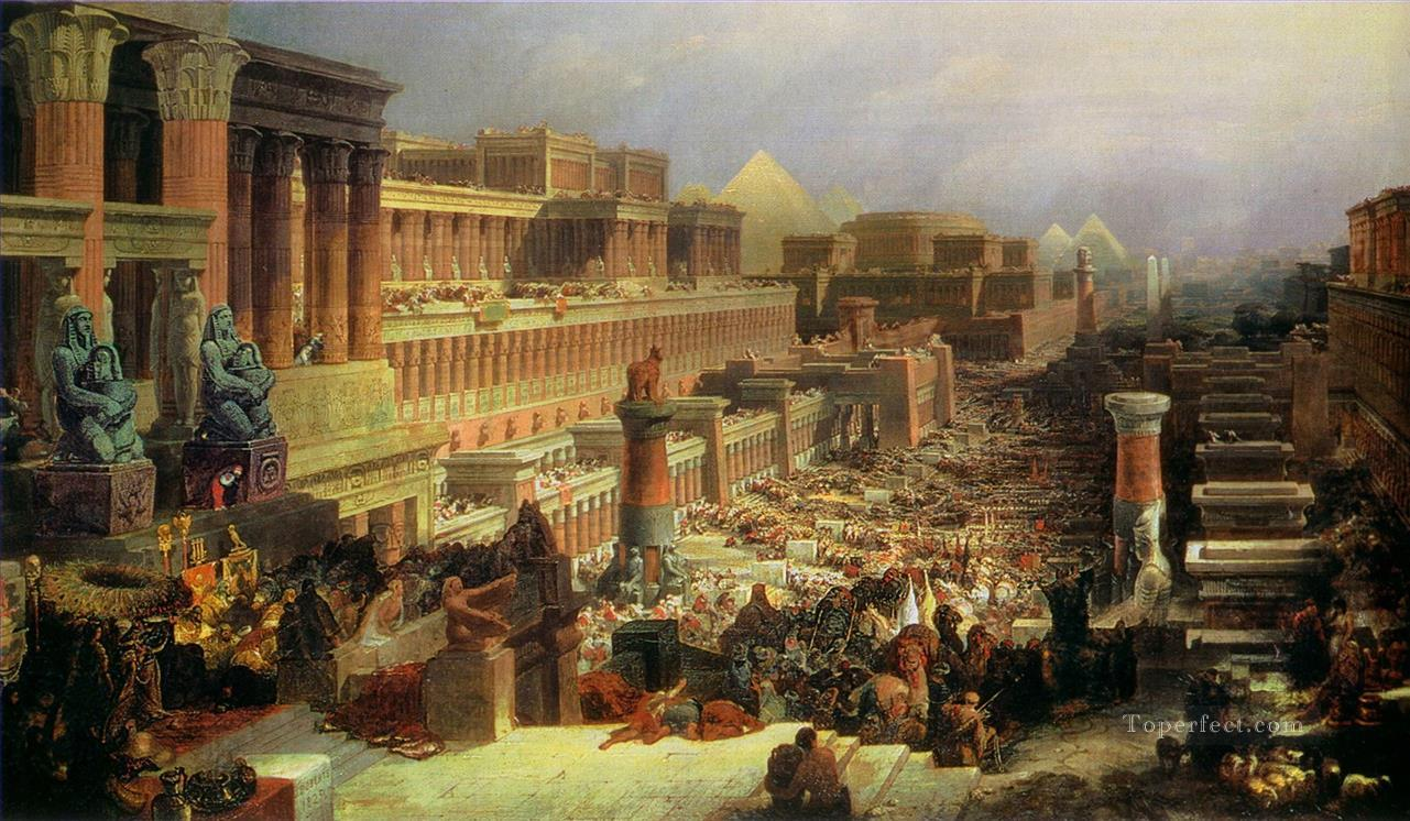 departure of the israelites 1830 David Roberts Jewish Oil Paintings