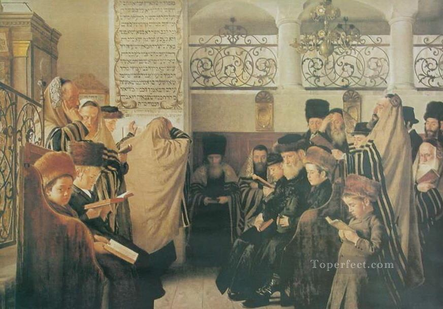 Day of Atonement Isidor Kaufmann Hungarian Jewish Oil Paintings