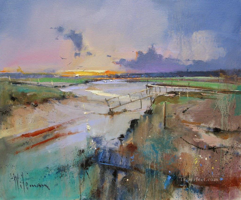 Blakeney from Morston Dawn abstract seascape Oil Paintings