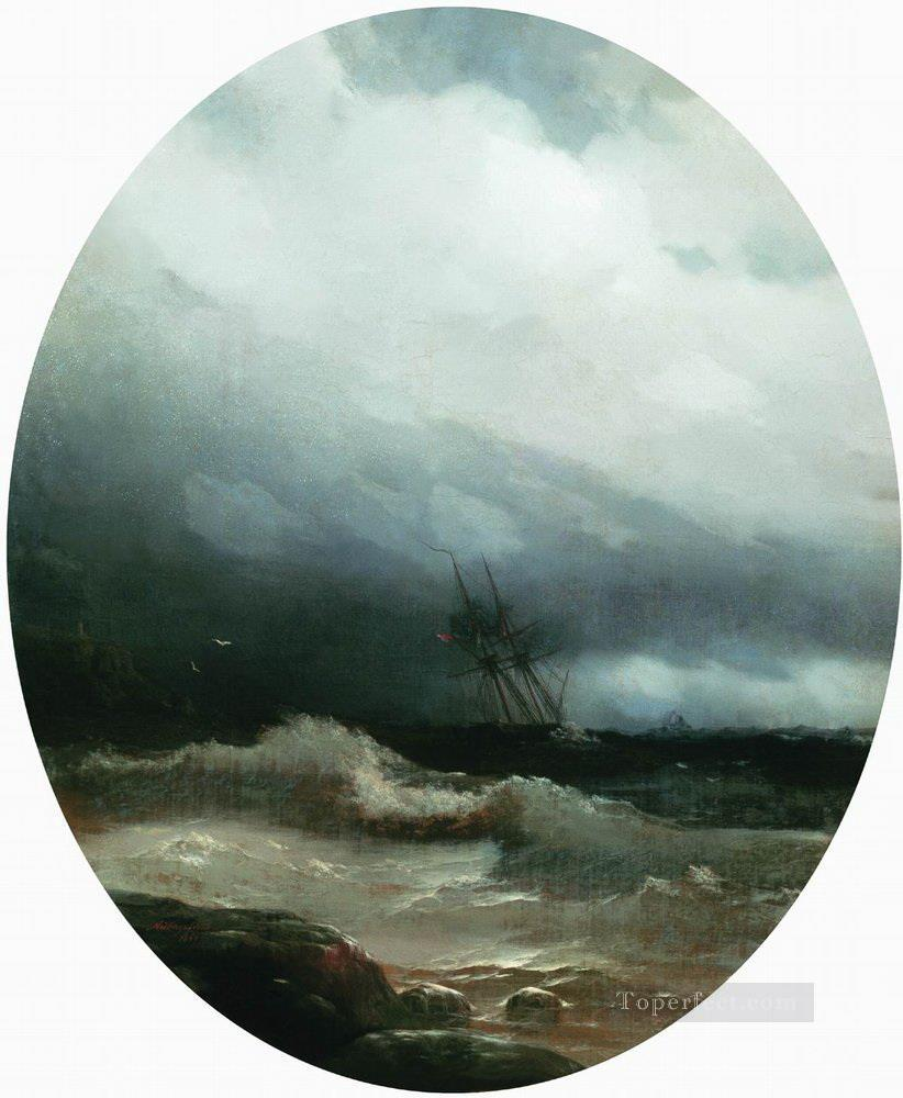 Ivan Aivazovsky ship in a storm Seascape Oil Paintings