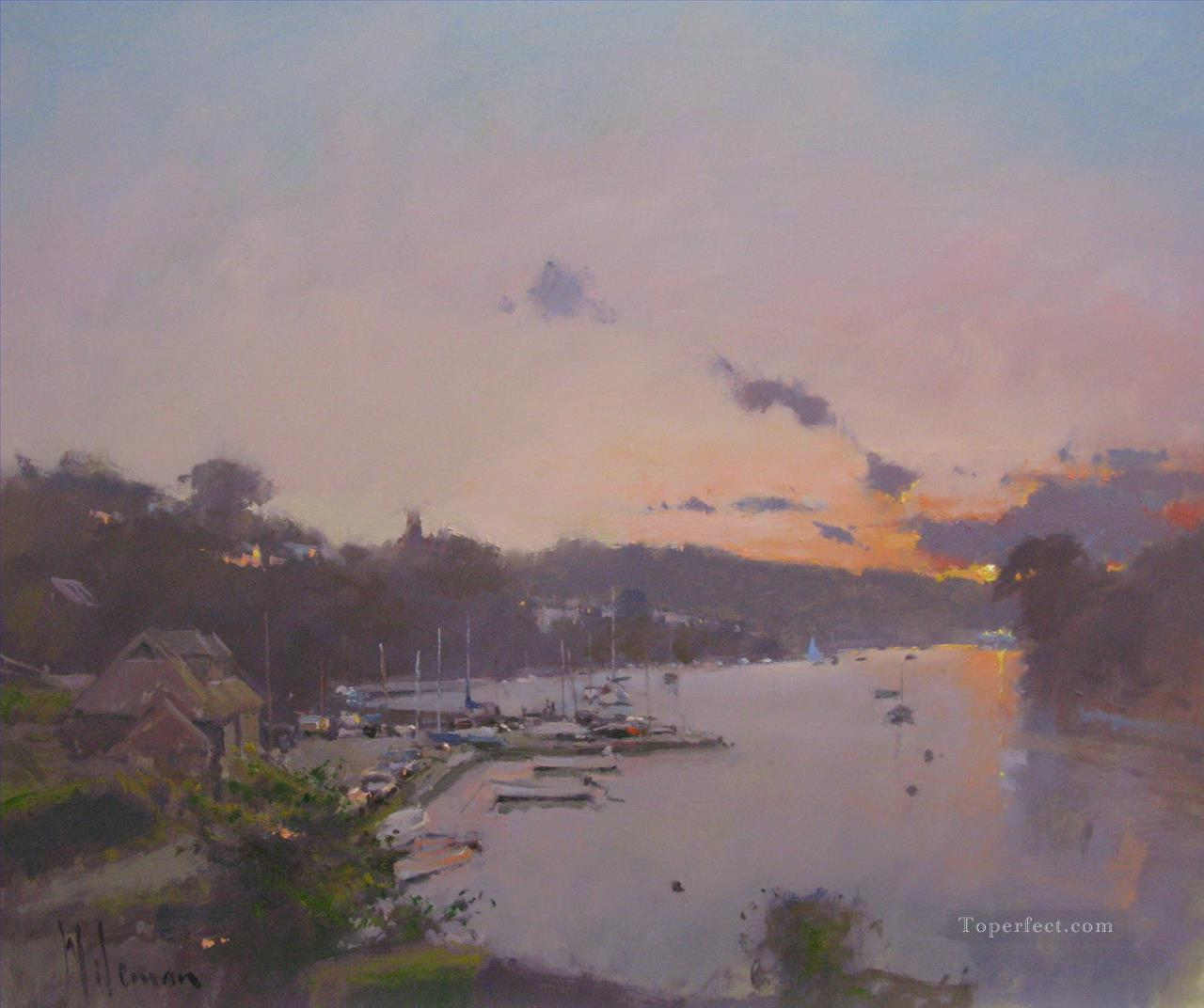 Sunset over the Yealm Noss Mayo abstract seascape Oil Paintings