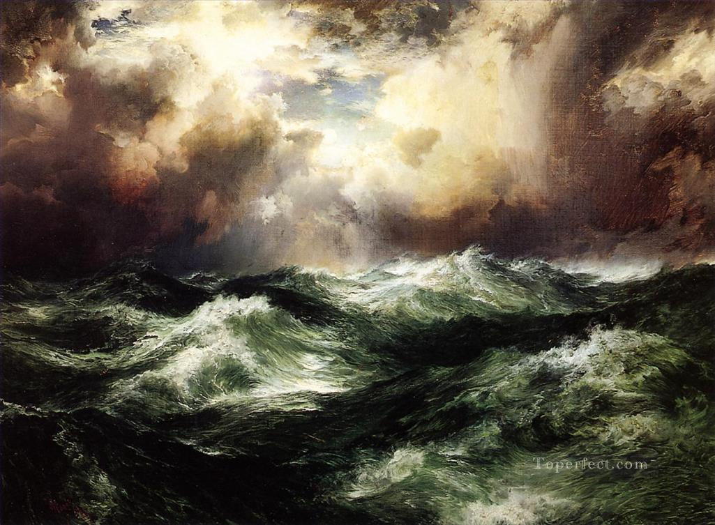 Thomas Moran Moonlit Ocean Waves Oil Paintings