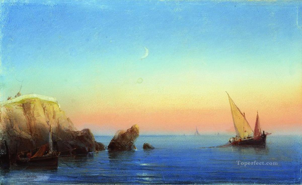Ivan Aivazovsky calm sea rocky coast Seascape Oil Paintings