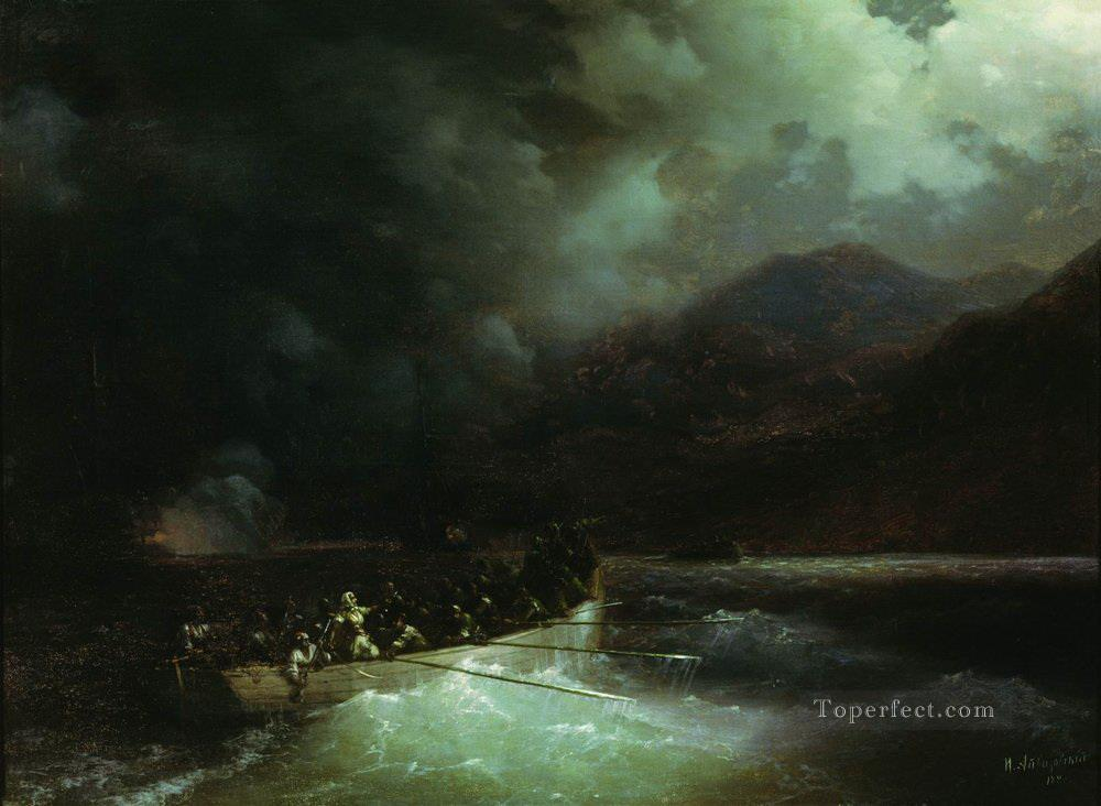 Ivan Aivazovsky heroine bobolina with hunters breaks under a hail of shots on a boat through the turkish fleet Seascape Oil Paintings