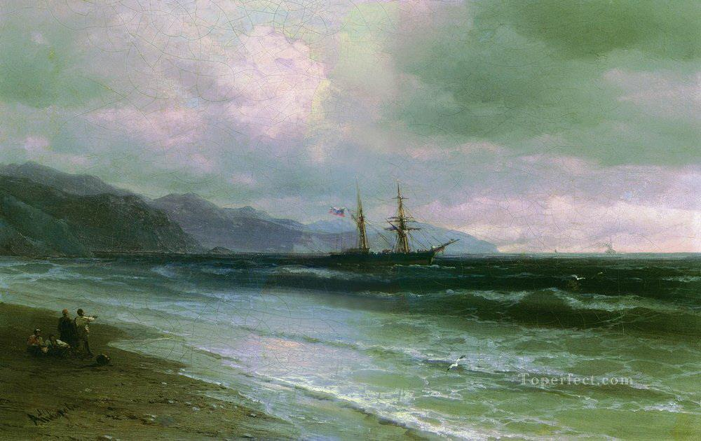 Ivan Aivazovsky landscape with a schooner Seascape Oil Paintings