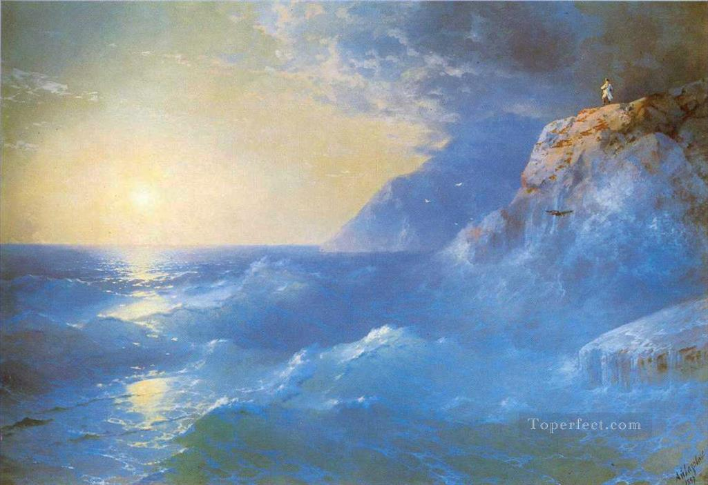 Ivan Aivazovsky napoleon on island of st helen Ocean Waves Oil Paintings