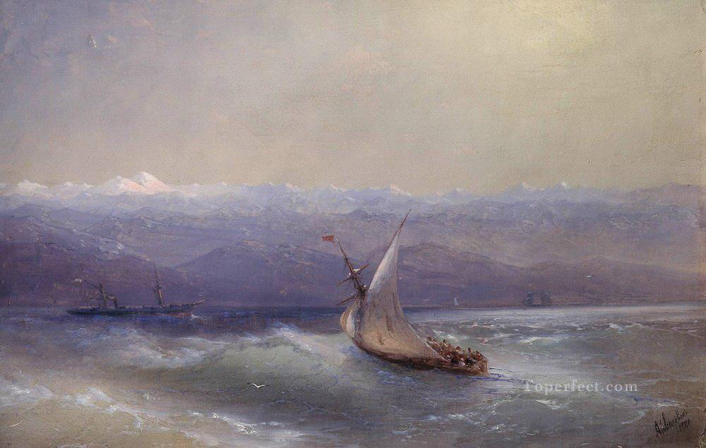 Ivan Aivazovsky sea on the mountains background Seascape Oil Paintings