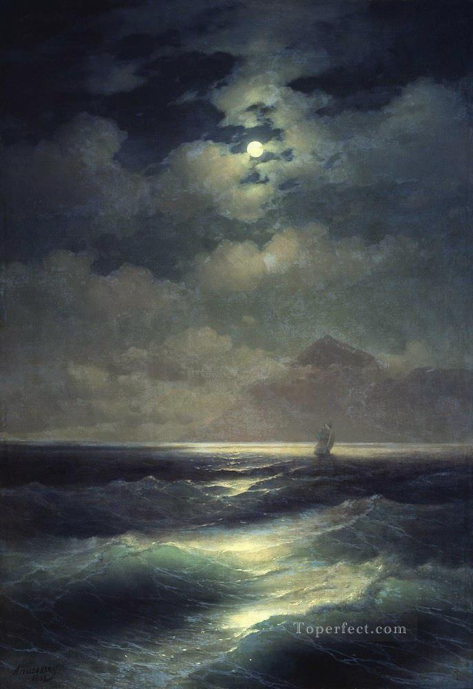 Ivan Aivazovsky sea view by moonlight Seascape Oil Paintings