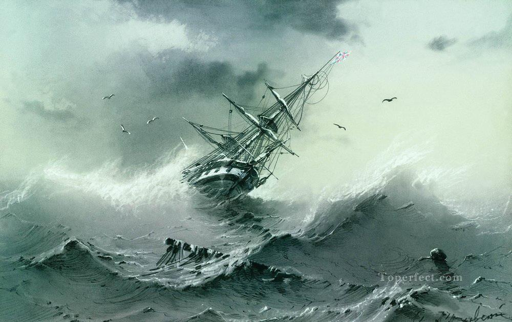 Ivan Aivazovsky shipwreck Ocean Waves Oil Paintings