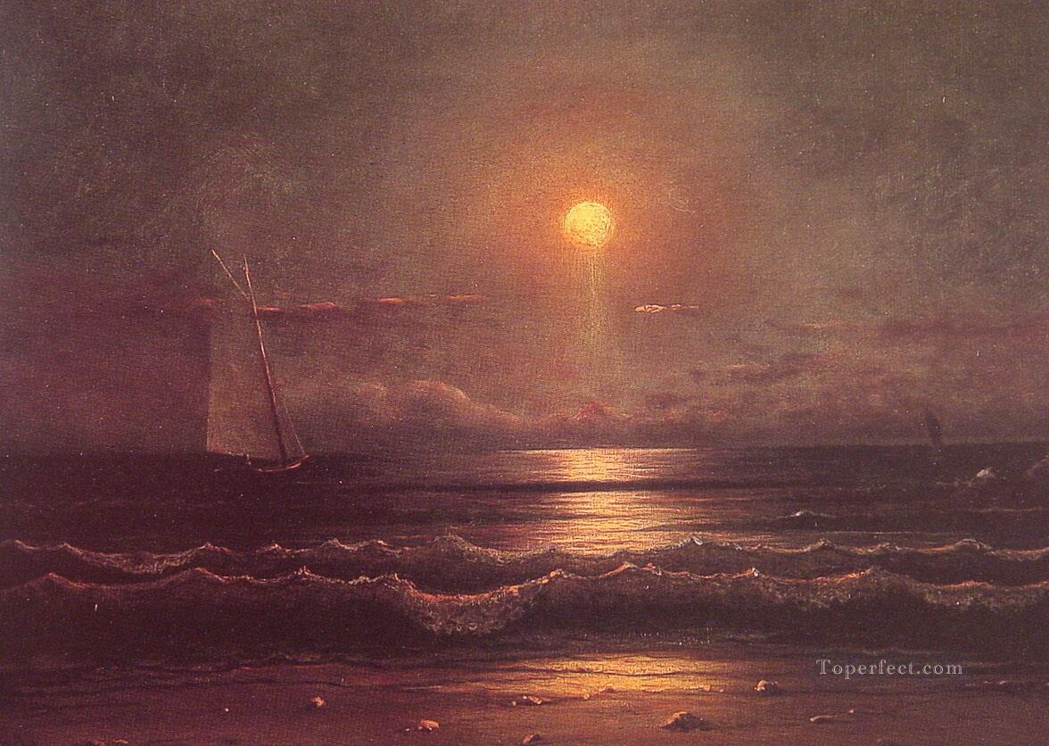 Martin Johnson Heade Sailing by Moonlight seascape Oil Paintings