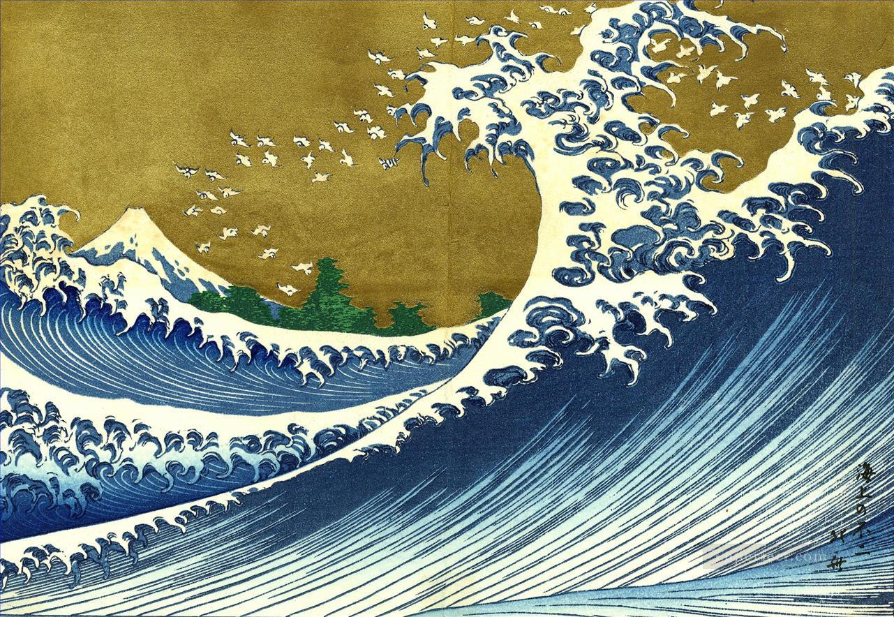 a colored version of the big wave Katsushika Hokusai seascape Oil Paintings